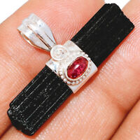 Black Tourmaline Point & Pink Tourmaline 925 Silver Pendant Jewelry BP9591 XGB