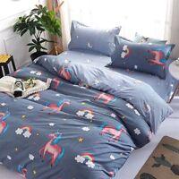 Unicorn Printing Gray Bedding Set Duvet Quilt Cover+Sheet+Pillow Case Four-Piece