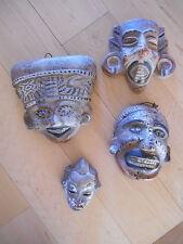 4 Terra Cotta Masks Mayan or African Tiki Look Primitive hand painted Folk Art
