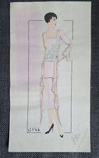 MODE ART DECO dessin au crayon et  gouache sur papier style calque robe