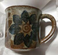 Vintage Otagiri Style  Brown Glaze Daisy  Floral Coffee Cup Mug
