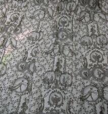 80cm remnant SLATE GREY Toile de Jouy COTTON VELVET Upholstery Curtain Fabric