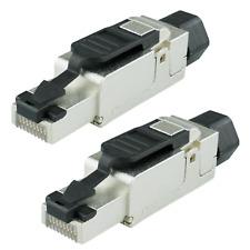 2 x Netzwerkstecker Cat 6A RJ45 LAN Stecker für Cat 7 Verlegekabel Werkzeugfrei