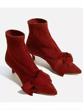 ZARA GOAT LEATHER HEELED ANKLE BOOTS WITH BOW-BRICK RED- 6102/101-sz 8