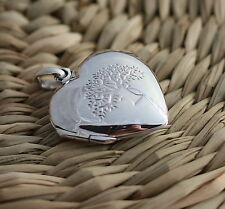 Sólido de plata esterlina 925 Corazón Medallón Árbol De La Vida Colgante Joyero De Foto