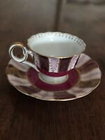 Vintage Made In Occupied Japan Demitasse Tea Cup & Saucer Puple Mauve And Gold
