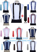 Matching skinny tie and suspenders set men's clip-on  back longer necktie prom