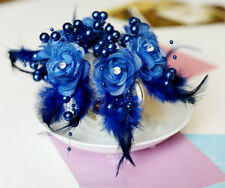 6Pcs Crystal Royal Blue Pearl Flower Wedding Bridal Party Hair Pin Feather Clip