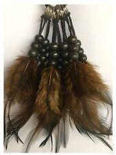 10 Dark Brown Feather KeyRing KeyChain Indian Boho Charm Bag Craft Accessory
