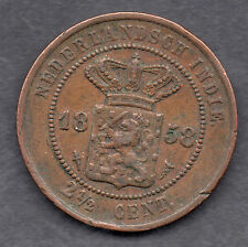 Indonesia (Dutch East Indies) 2 1/2 Cent 1858 coin KEY DATE RARE