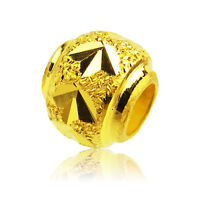Pure Solid 999 24k Yellow Gold Luck Round Loose DIY Bead / Pendant New Fashion