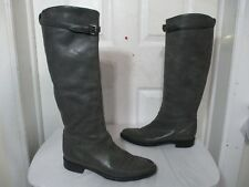 SPAZIOMODA WOMEN GREY LEATHER THIN BUCKLE LONG BOOTS 39½ US 9 MADE IN ITALY $580