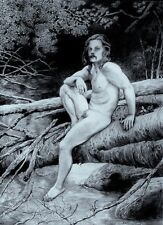 ACEO Nude Male PRINT, Nature,Nude Outdoors,Woods,Nude Man Graphite Drawing Print