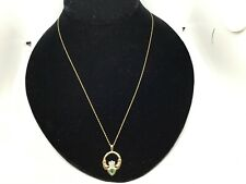"10K Gold 18"" Chain Necklace w/ 10K Gold Green Stone Claddagh Pendant 2.25 Grams"