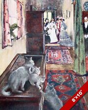 CATS & VICTORIAN WOMEN CAT KITTEN PET ANIMAL ART PAINTING REAL CANVAS PRINT