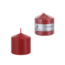 "Mega Candles - Unscented 3"" x 3"" Round Pillar Candle - Red, Set of 6"