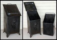 Antique Lion Head Feet Victorian Lady Coal Scuttle Ash Bin Fireplace Hod w Liner