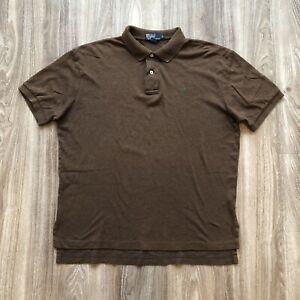Polo Ralph Lauren Shirt Men's L Large Brown Short Sleeve Green Pony Cotton