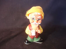 Old Vtg Old Man With Hat Holding Cup Figure Wind-Up Toy Alps Made In Japan