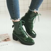 Women Shiny PU Leather Ankle Boots Chunky Block Heel Shoes Motorcycle Boots Size