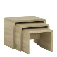 Nest of 3 Coffee Tables Oak TOP QUALITY Living Room Furniture Side Table