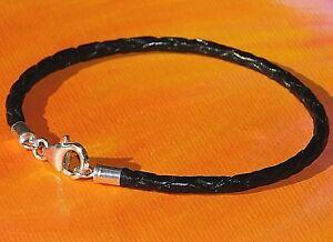 Mens /Ladies 3mm Black braided leather & sterling silver bracelet - Lyme Bay Art