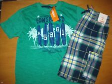 NWT Gymboree Tide Pool size 8 set Green Longboard Surf Shirt Blue Plaid Shorts