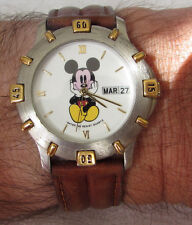 Mickey Mouse Mens Watch Hands on Face Water Resist Quartz Disney VX43