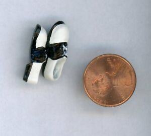 "Miniature Dollhouse Pair of White w/ Black Saddle Shoes 7/8"" L"
