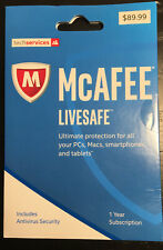 $90 NEW McAFEE LiveSafe Anti-Virus Ultimate Security Mac PC - MLS17EOD1RHA