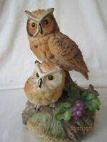 Ceramic Owls Music Box, collectible, Birds, decor,Gift World Of Gorham,Music