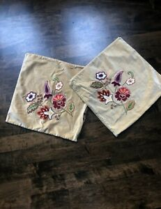 Pair of Pottery Barn Embroidered Velvet Pillow Covers