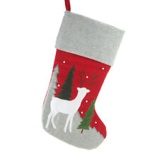 Hanging Felt Reindeer and Tree Embroidered Christmas Stocking with Gray Cuff, Re