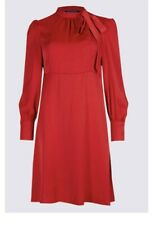 M&S satin red dress size 14