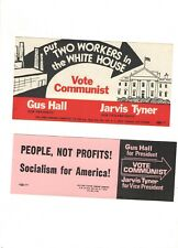 1976 pin COMMUNIST Third PARTY 2 Campaign FLYER /// Sticker HALL & TYNER