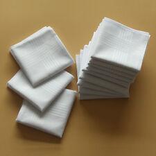 WHITE Stripe Handkerchief Pocket Square Hanky Men's Cotton Handkerchiefs