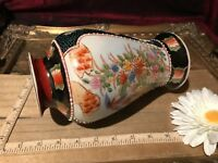 "Asian Porcelain Satsuma Vase  Floral & Game Bird 8 1/4""x4 1/2"""