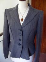 Ladies NEXT tailored jacket UK 12 10 grey herringbone boxy waist retro hipster