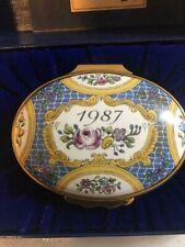 Halcyon Days 1987 A Year To Remember Trinket Box Enameled, England