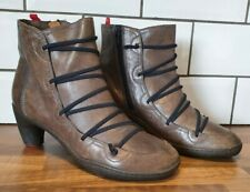 Camper Peu Nara brown leather heeled boots size 39 UK 6 zip ankle elasticated