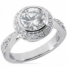 1.87 carat total Round cut Diamond Halo Engagement Ring, 14k White Gold, H color