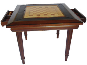 Game Card Table Solid Wood Chess Checkers Backgammon Drawers Storage Dining
