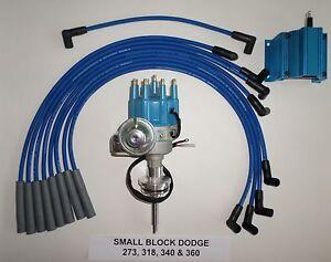 DODGE 273-318-340-360 BLUE SMALL Cap HEI Distributor,50K COIL & Spark Plug Wires