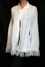Creamy White VTG 60s 70s Knit SweeTree Button Fringe Poncho Cape Coat Wrap