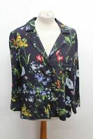 HOBBS Ladies Navy Floral Long Sleeve Collared Button Up Marianne Shirt UK12 NEW