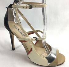 Charles David size 7 Stiletto Heel Patent Leather Ankle Strap Red Black Cream