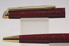 Waterman Hemisphere Red Marble Ballpoint Pen with Gold Trim