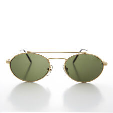 Elegant Gold Aviator with Oval Lens and Brow Bar Optical Quality Frame - Russ