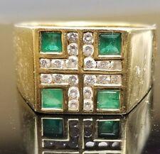 Vintage Green Emerald Diamond Wide 18k ring/band