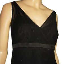 ANNE KLEIN Beaded Silk Chiffon PARTY DRESS Swishy & Flirty BLACK Sleeveless 14